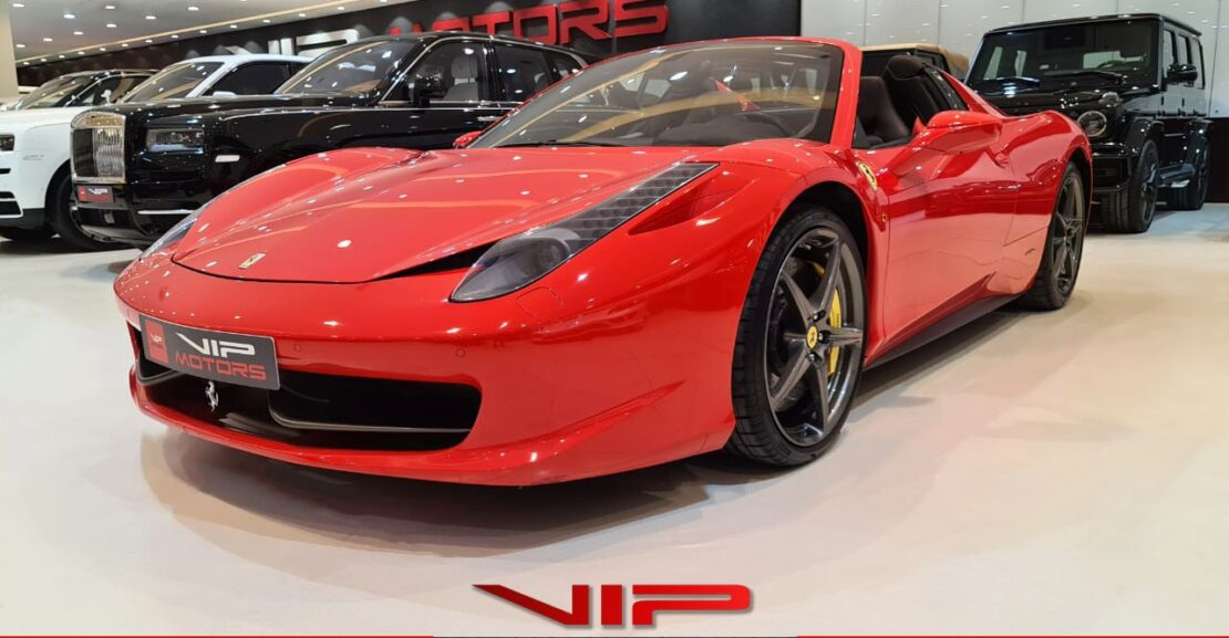 Ferrari 458 Spider-Red-2013-side-view-vip-motors