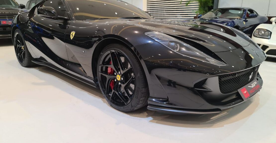 Ferrari 812-Superfast-Black-2019-Front-Side-View-Vip-Motors