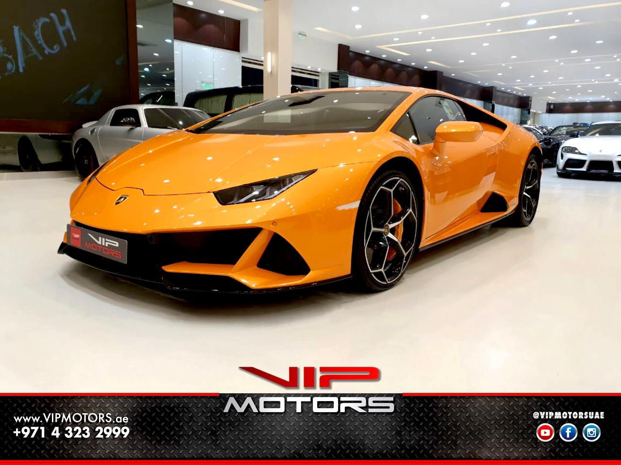 Lamborghini-Huracan-Evo-Orange-2020-Front-Side-View-Vip-Motors