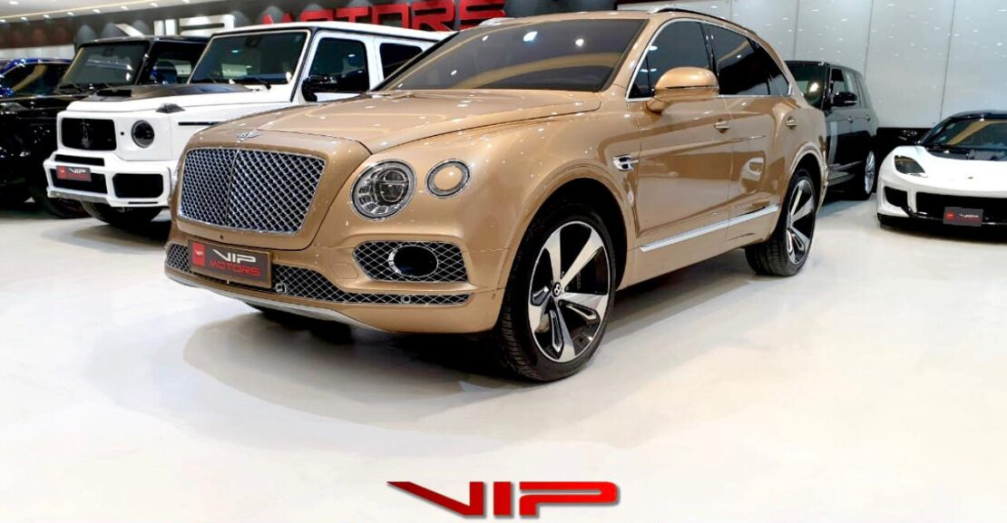 Bentley-Bentayga-W12-Gold-2017-Front-Side-View-Vip-Motors