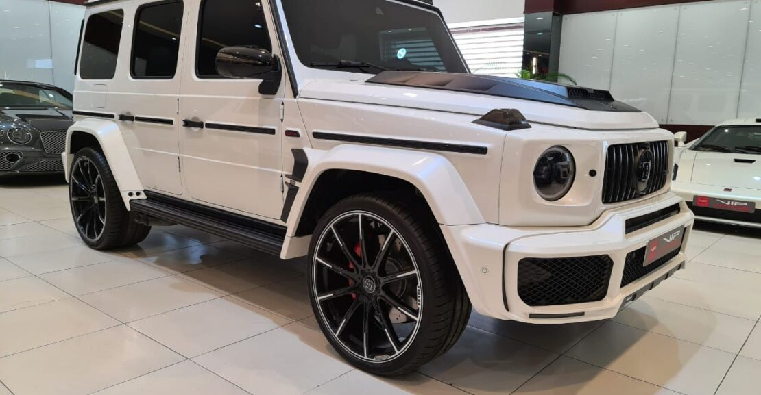Mercedes-Benz-G Class-2020-White-Front-Side-View-Vip-Motors