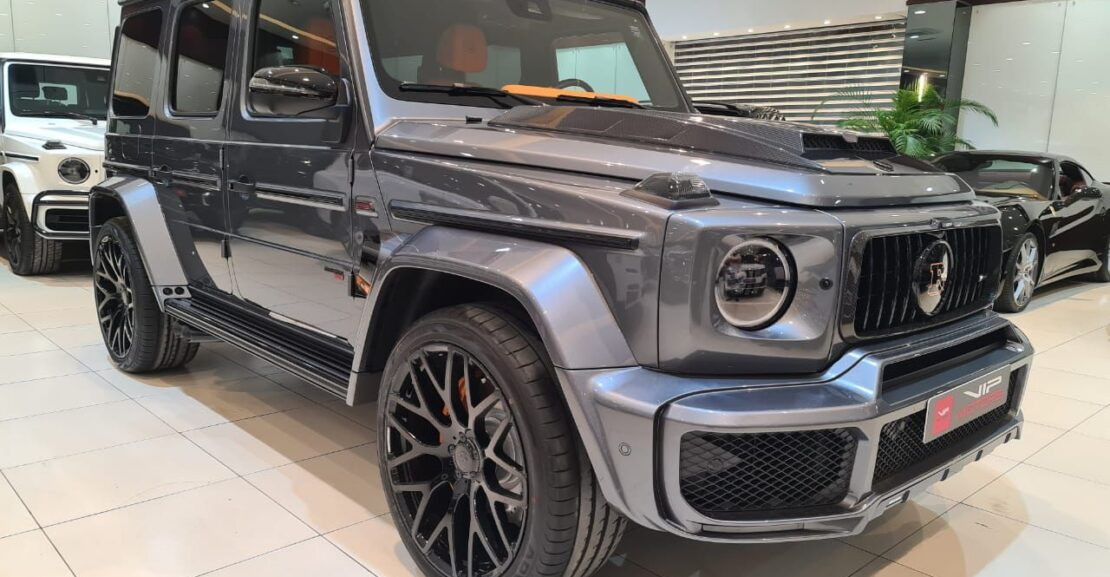 Mercedes-G800-Brabus-Grey-2020-Front-Side-View-Vip-Motors