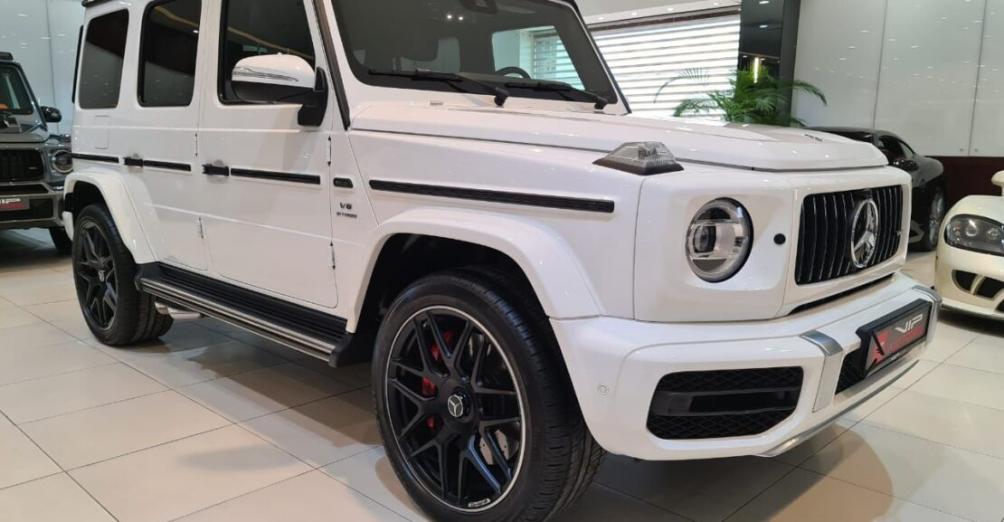 Mercedes-Benz G63-AMG-White-2019-Front-Side-View-Vip-Motors