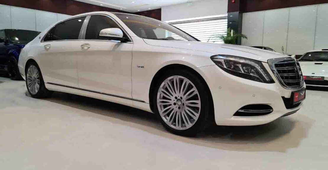 Mercedes-Benz-S-Class-Maybach-White-2015-Front-Side-View-Vip-Motors
