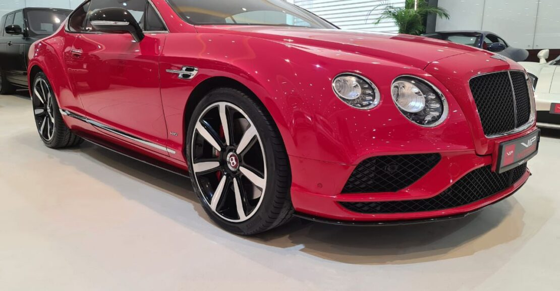 Bentley-Continental-GT-2016-Red-Front-Side-View-Vip-Motors