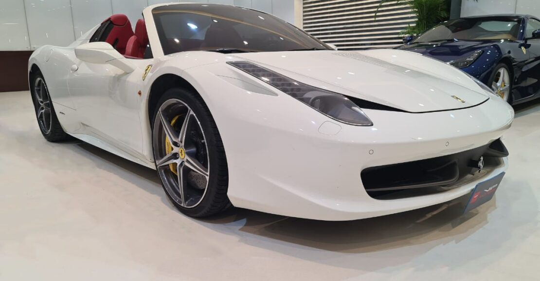 Ferrari-458-Spider-White-Front-Side-View-Vip-Motors